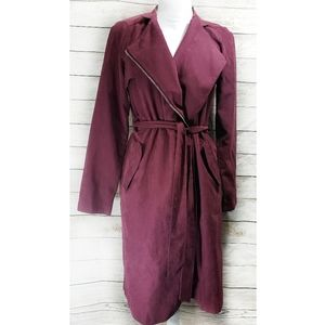 HYFVE Belted Faux Suede Trench Coat in Wine